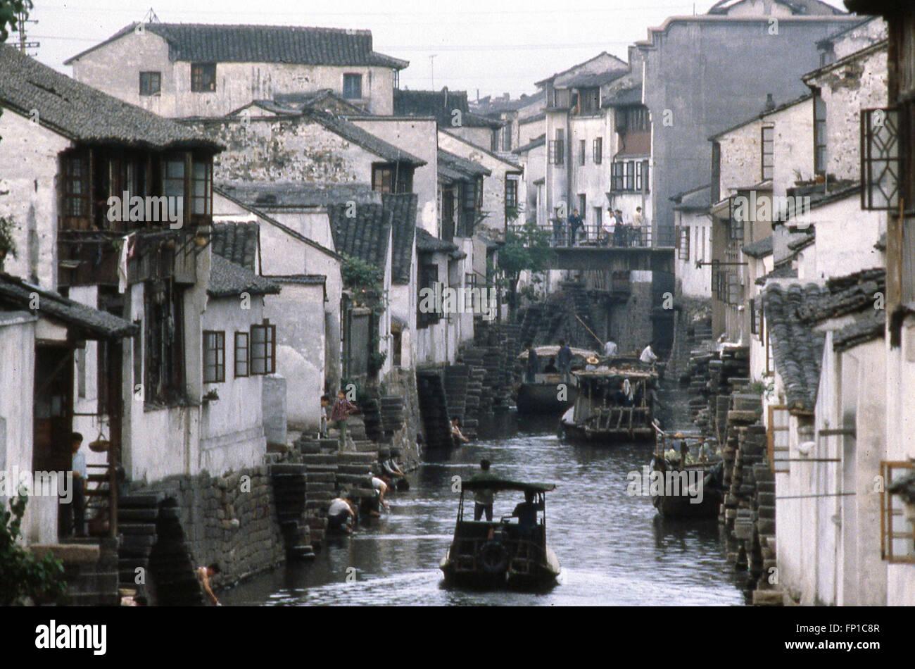 Grand Canal en Suzhou China Suchow un Sitio de Patrimonio Mundial de la UNESCO en 1979-1980 Imagen De Stock
