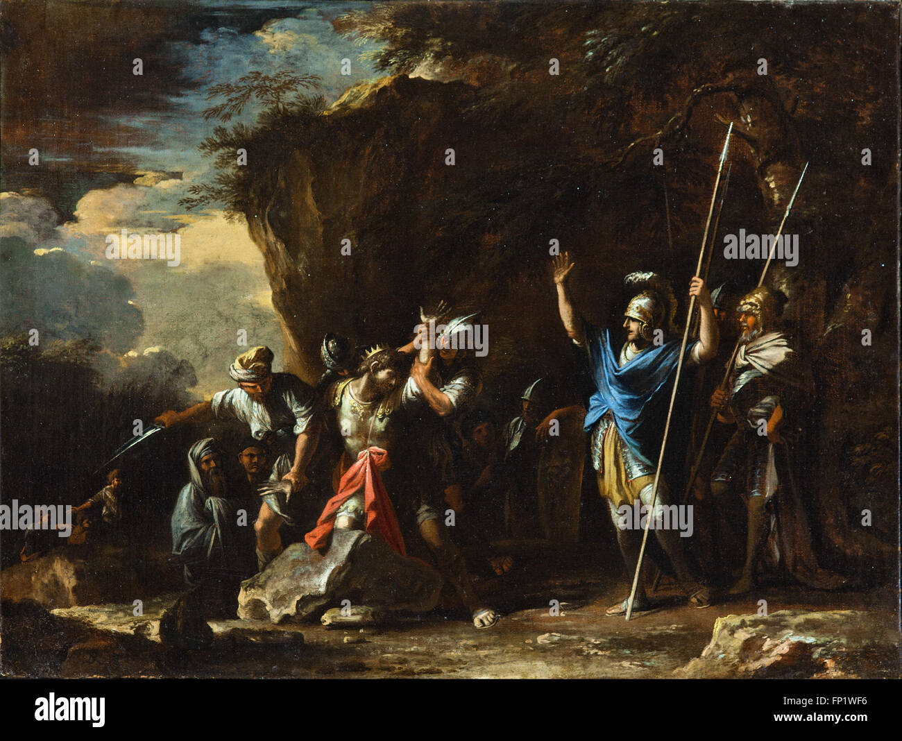 Salvator Rosa - Escena de la historia griega- los sordomudos hijo del rey Creso Imagen De Stock