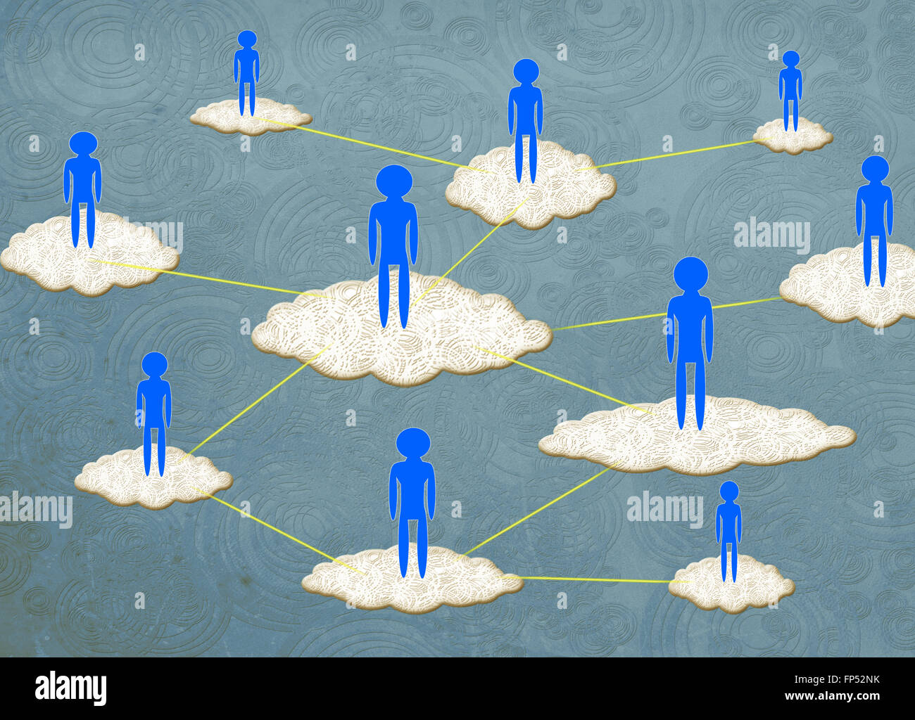 Concepto de cloud computing ilustración digital Imagen De Stock