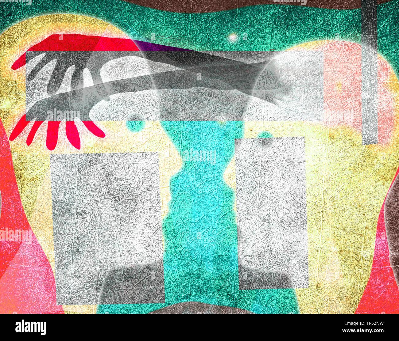 Concepto de manipulación mental ilustración digital Imagen De Stock