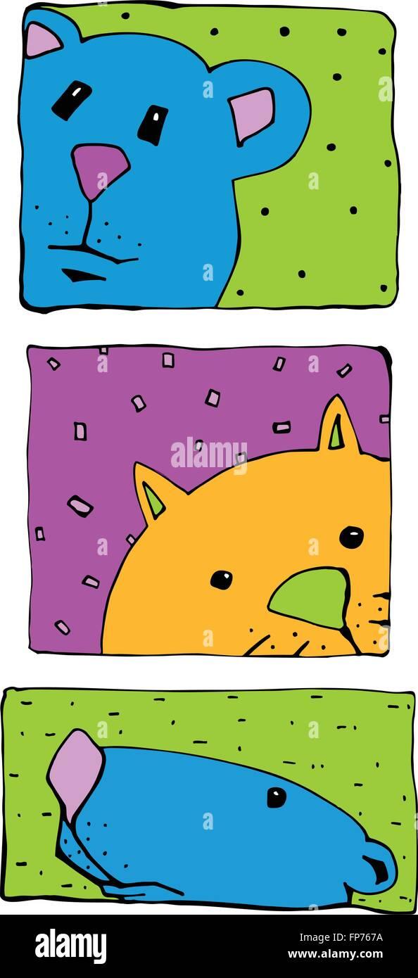 Goofy animal ilustraciones para tarjetas de felicitación y artículos de papelería Ilustración del Vector