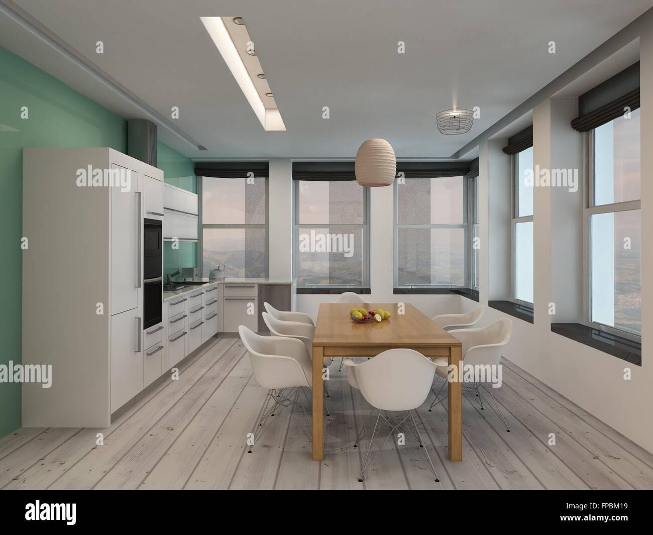 Moderna cocina abierta y comedor interior con construido en los ...