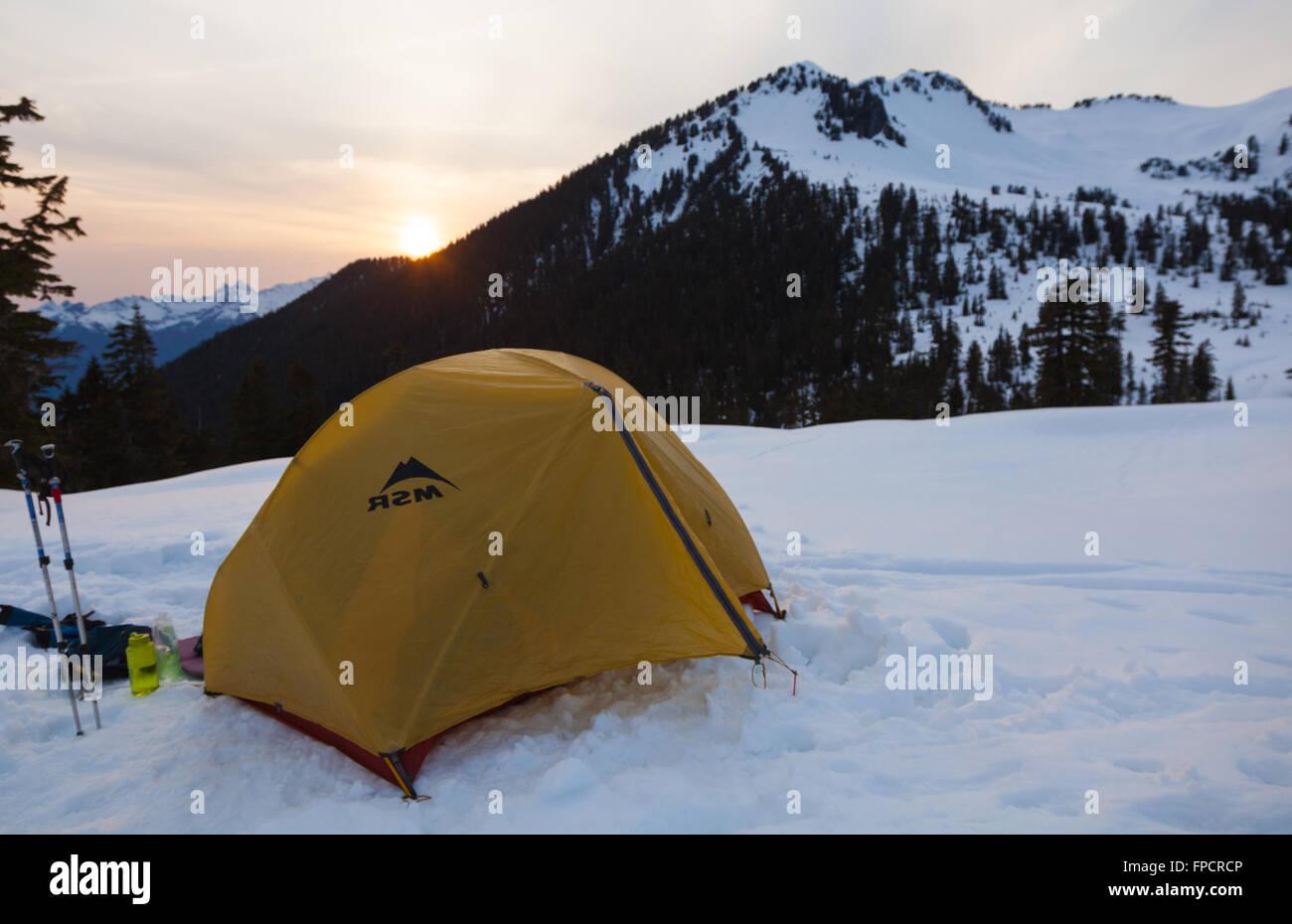 Campamento de Invierno en ceja de Lagos, Garibaldi Provincial Park, Columbia Británica Imagen De Stock