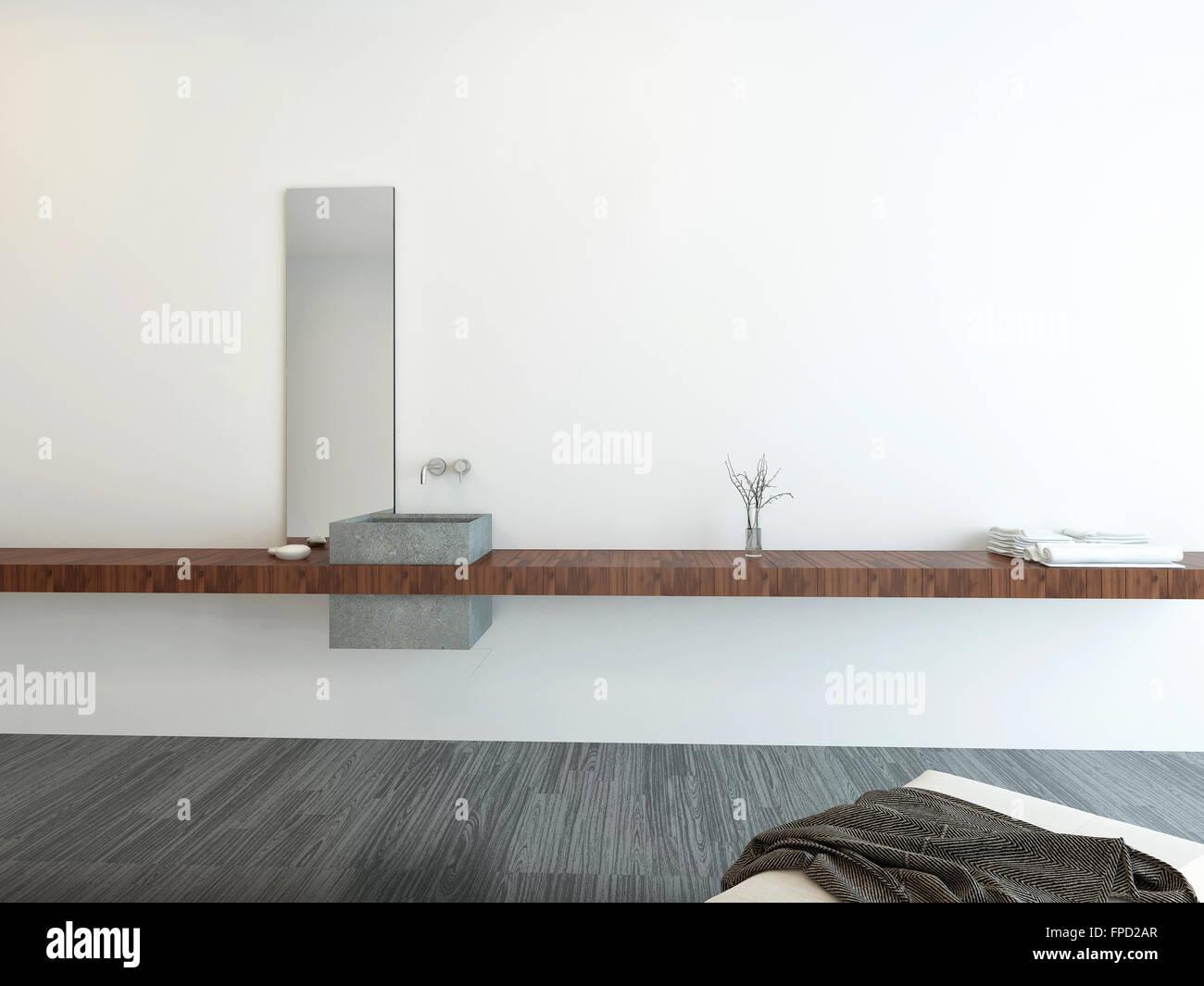 Colocacion Lavabo.Cuarto De Bano Minimalista Interior Con Un Pequeno Lavabo En