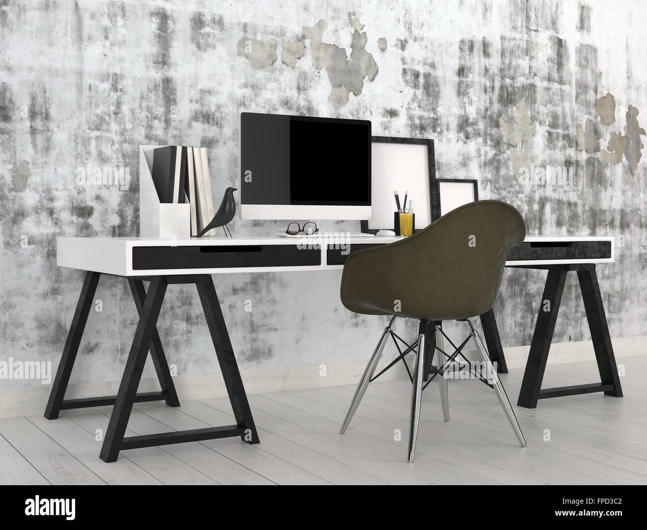 Elegantes Escritorios De Oficina Modernos.Elegante Y Moderno Interior De Oficina En Blanco Y Negro Con