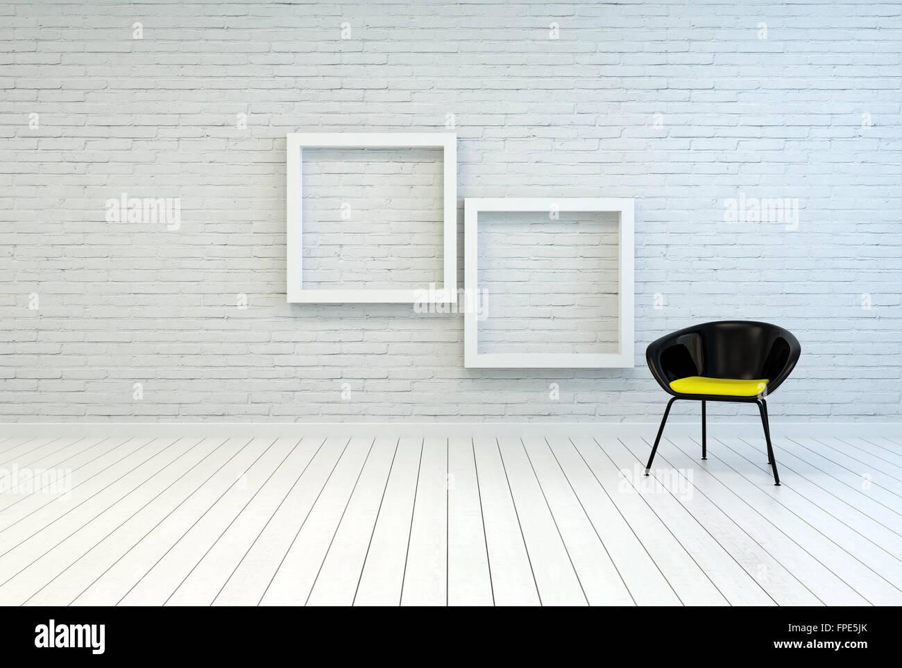 Bañera silla vacía junto a dos marcos de madera cuadrada blanca ...