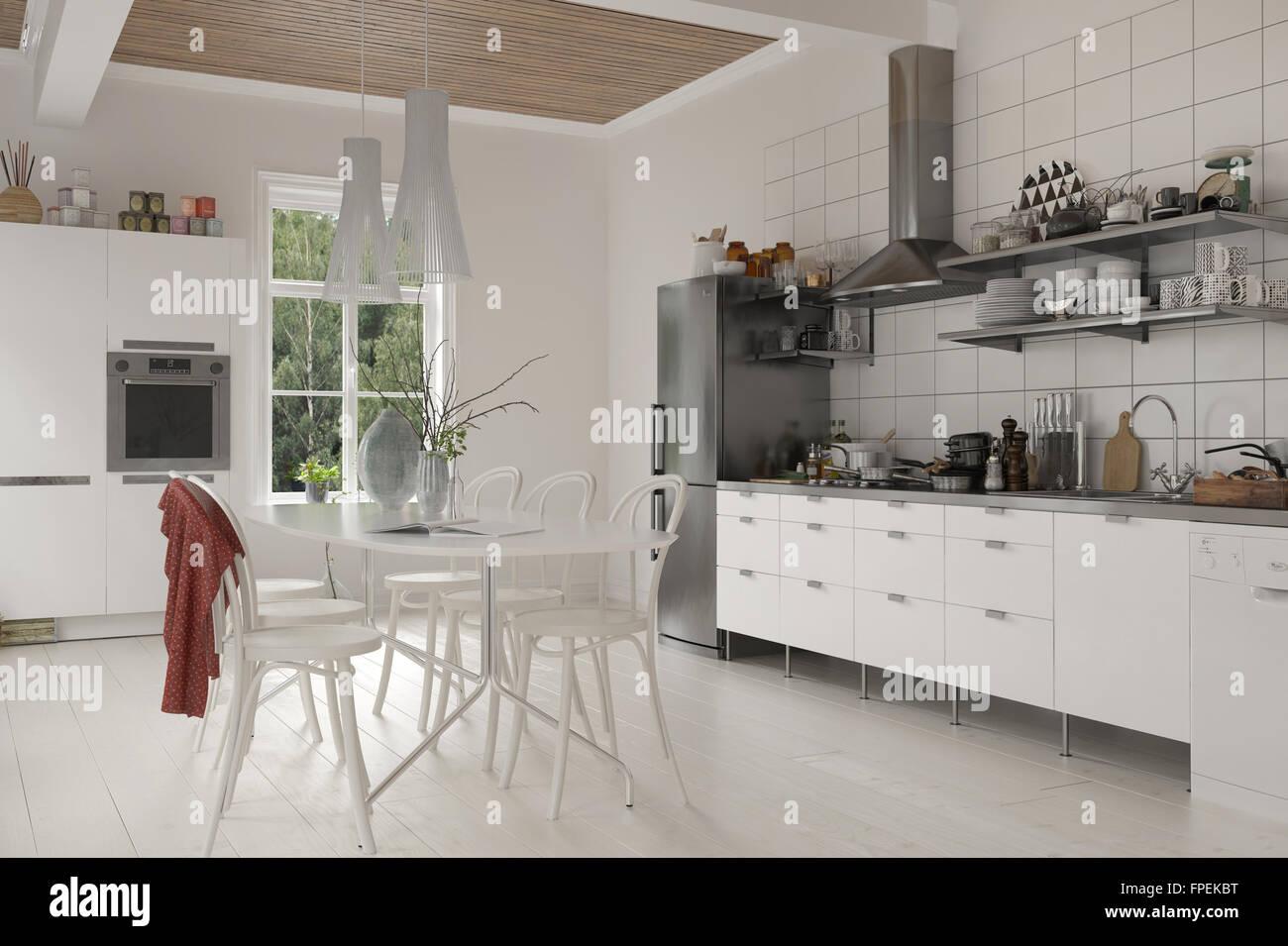 Vivir en rústica grande cocina con mesa y sillas, muebles de madera ...
