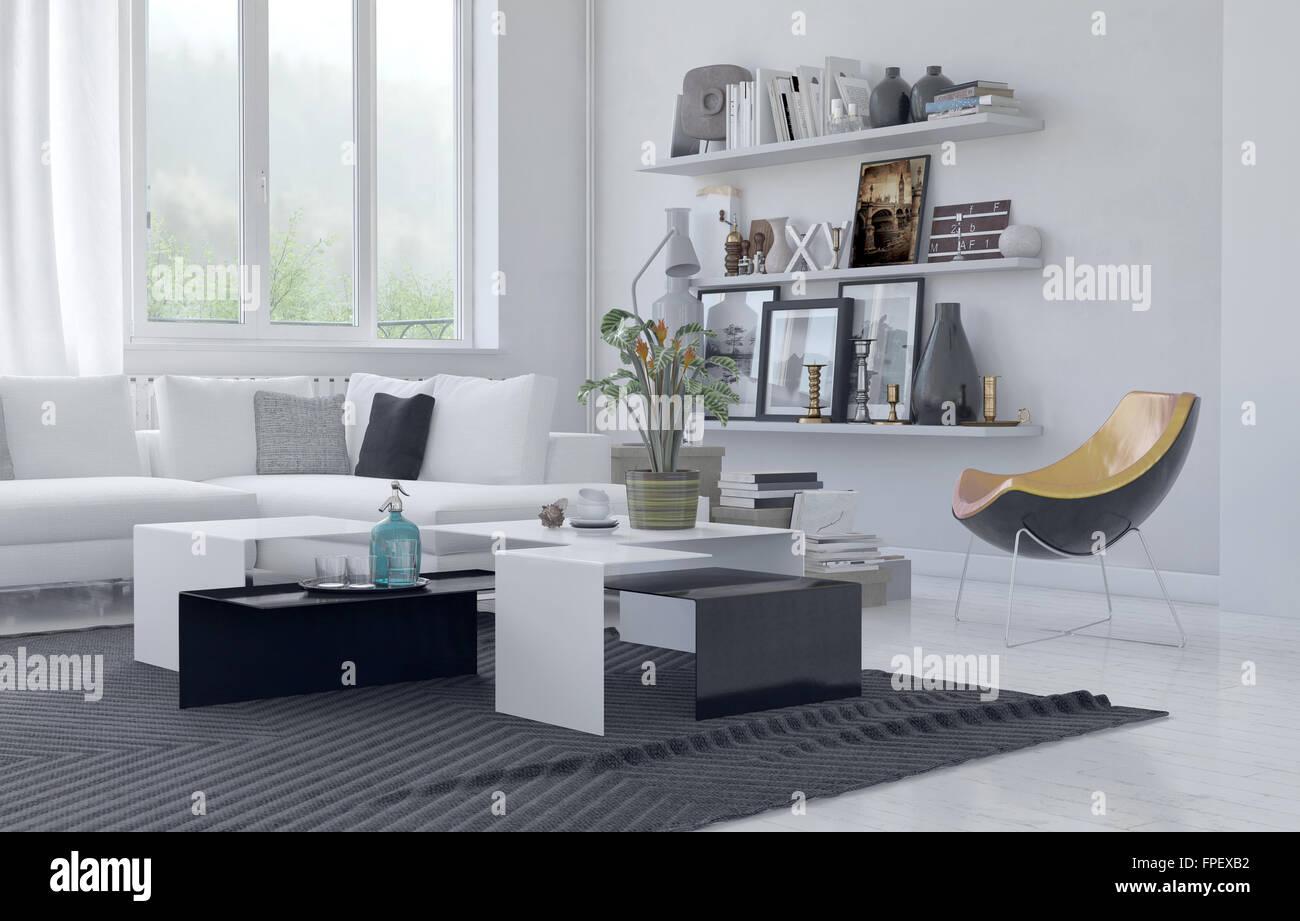sillones contemporáneos sala de estar La Moderna Sala De Estar Acogedora Con Decoracin En Color