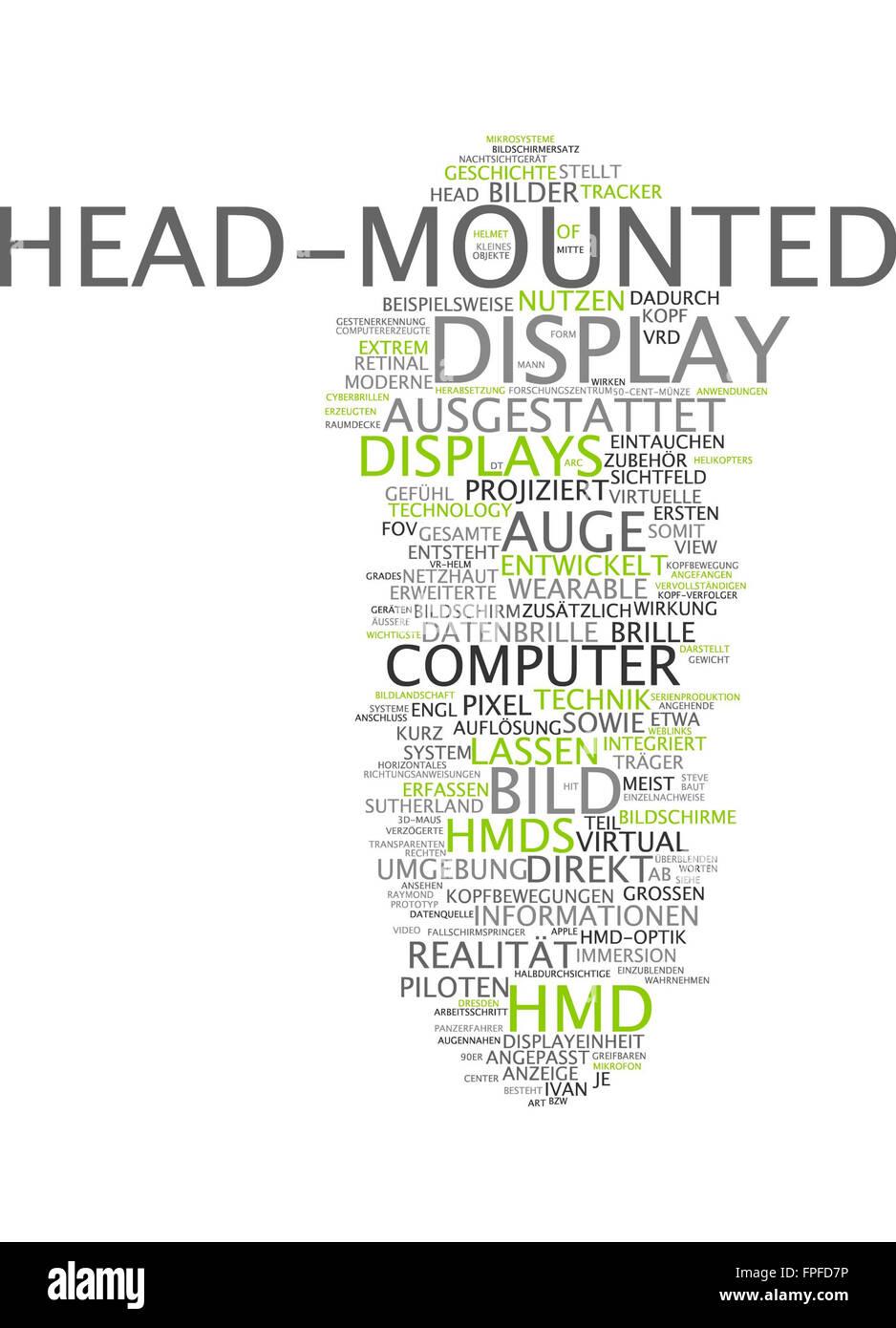 Head-mounted display head mounted bild bildschirm Foto de stock
