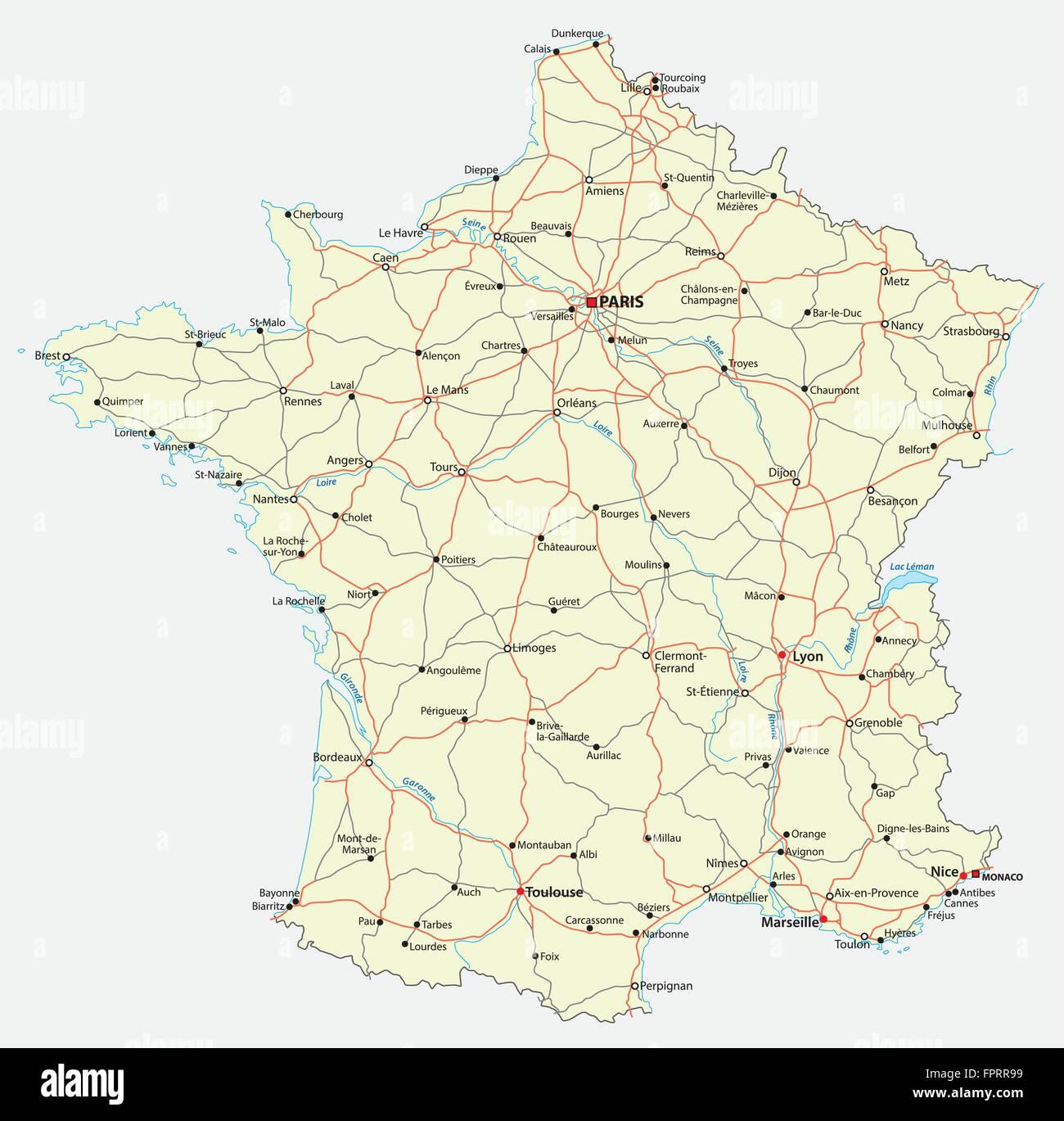 Mapa De Carreteras De Francia Ilustracion Del Vector Imagen