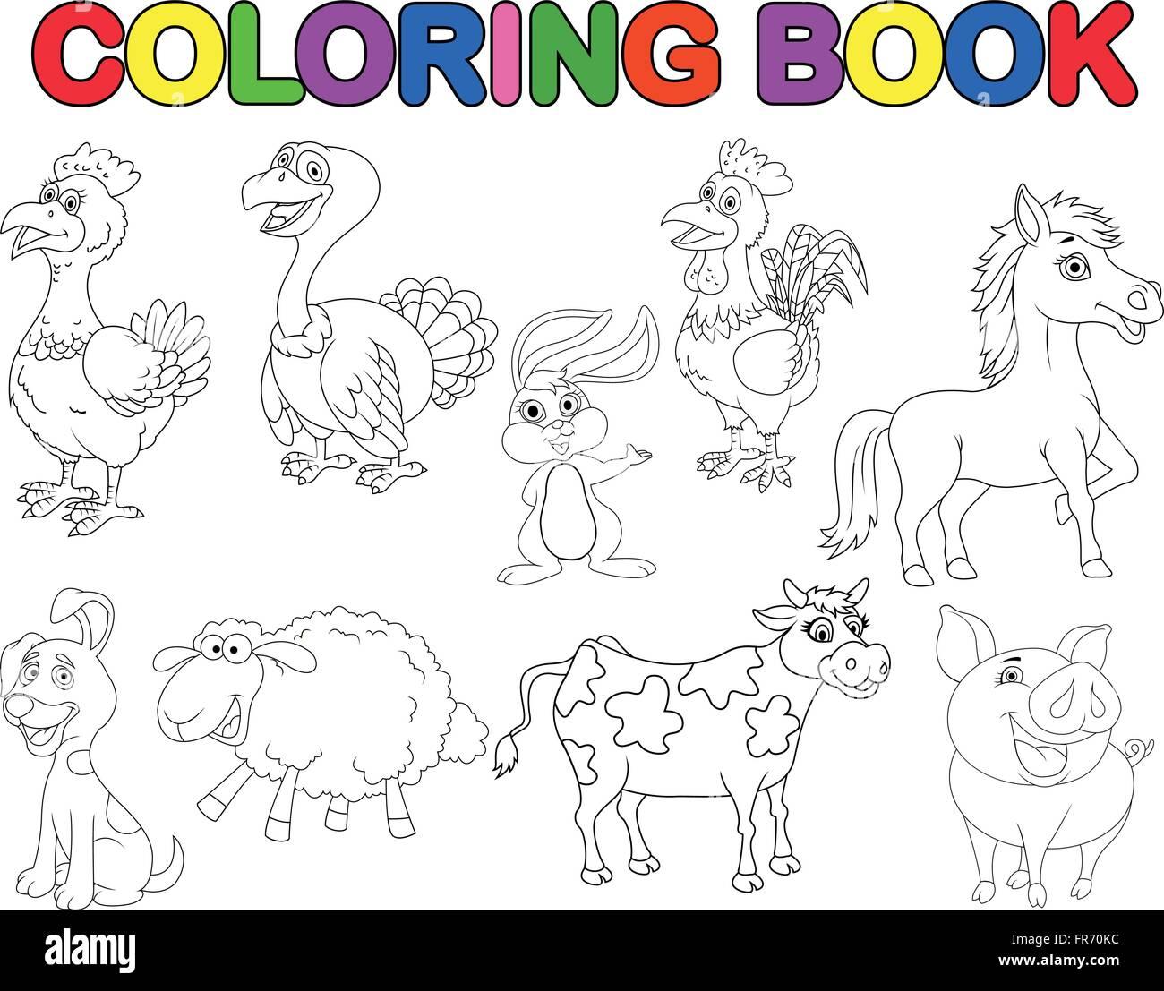 Libro Para Colorear De Animales De Granja Ilustración Del Vector