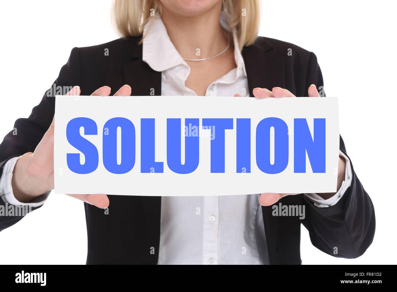 Concepto de negocio la empresaria con éxito con solución al problema Imagen De Stock