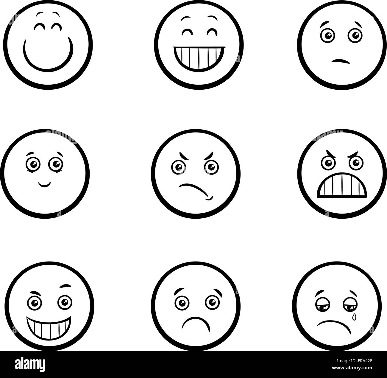 Black White Cartoon Illustration Emoticon Imágenes De Stock Black
