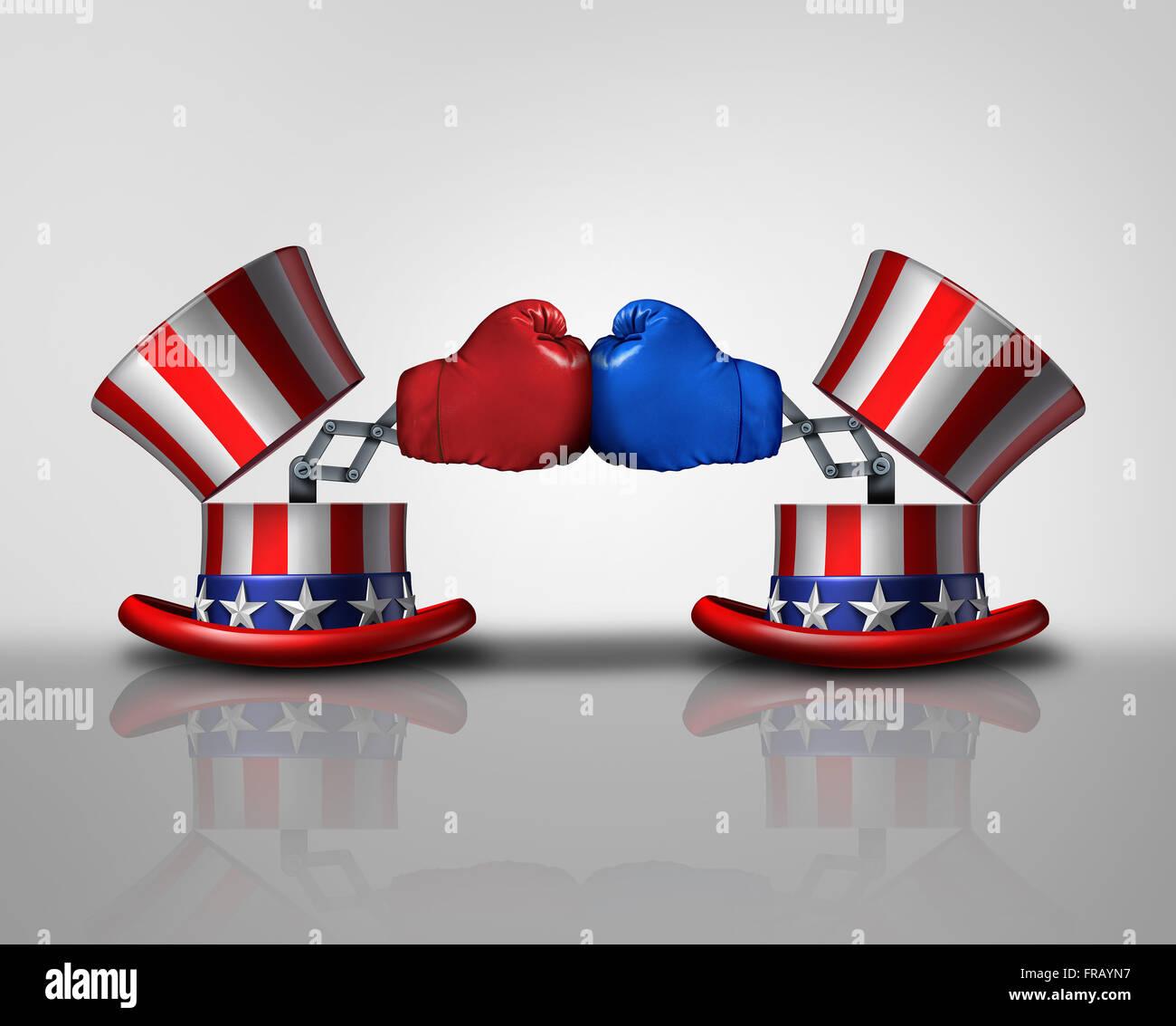 Lucha electoral americana y la violencia política concepto para campaña por votos como abrir el tío Imagen De Stock