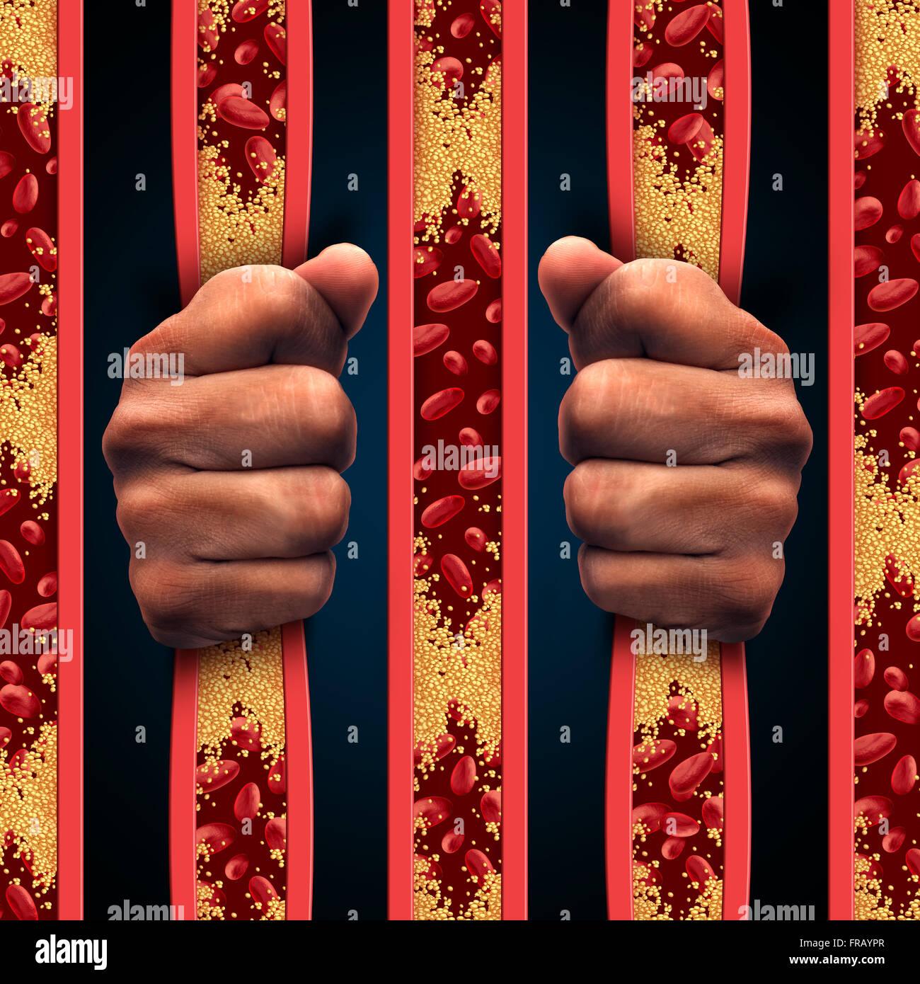Restringido por colesterol como una persona detrás de los barrotes de la cárcel de la arteria obstruida y la aterosclerosis Foto de stock
