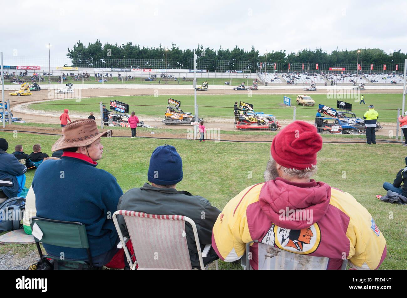 Carreras Stockcar en Woodford Glen Speedway, Kaiapoi, Christchurch, la región de Canterbury, Isla del Sur, Imagen De Stock