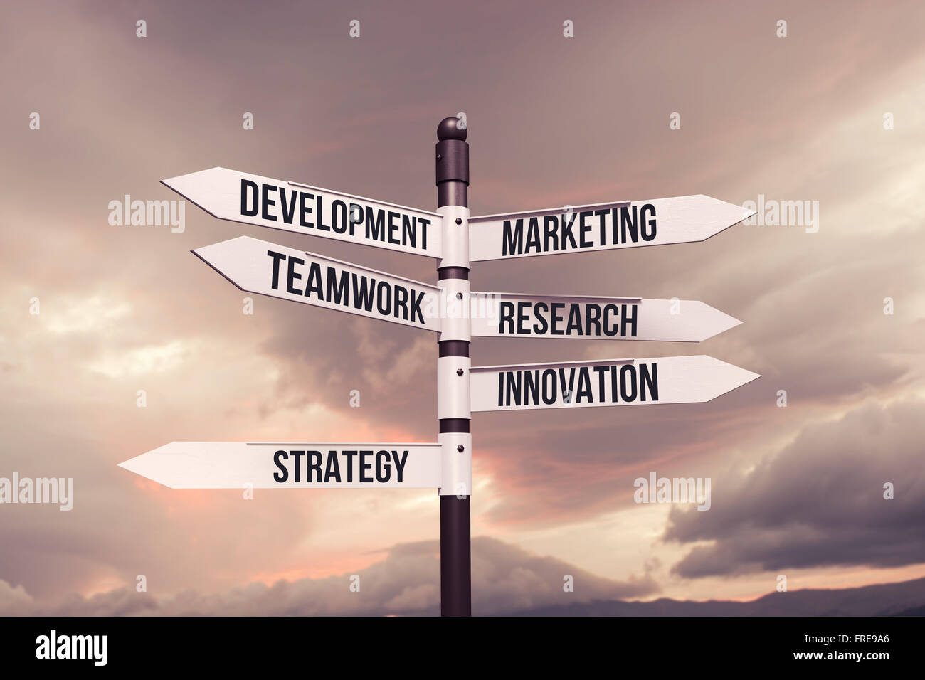 Negocio,estrategia,marketing,el concepto de desarrollo con señales de carretera Foto de stock