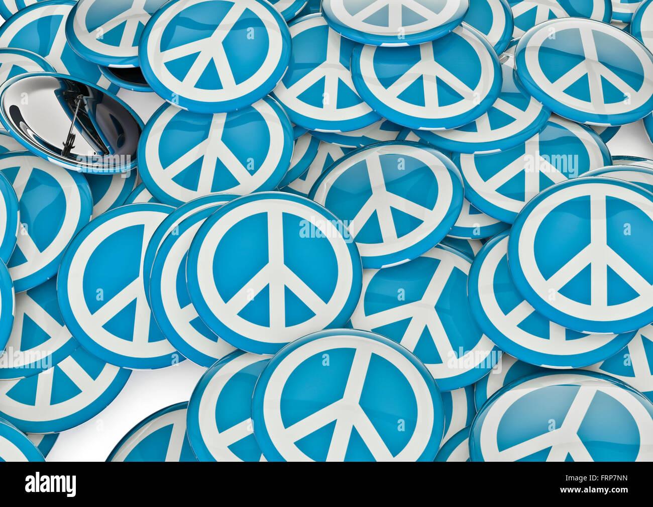 Las insignias de paz / 3D Render de insignias metálicas con símbolo de la paz Imagen De Stock