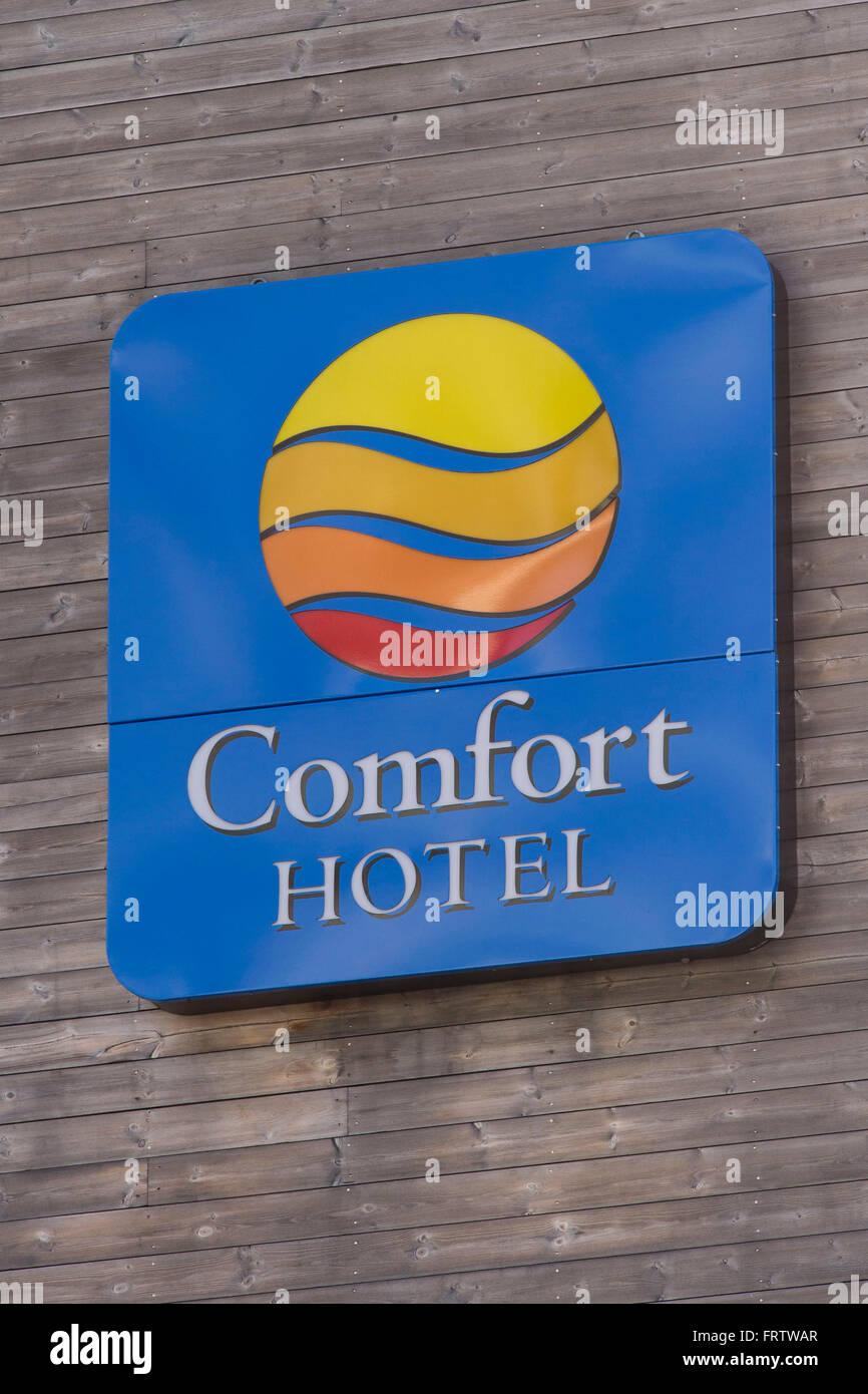 Comfort Hotel firmar logo. Imagen De Stock