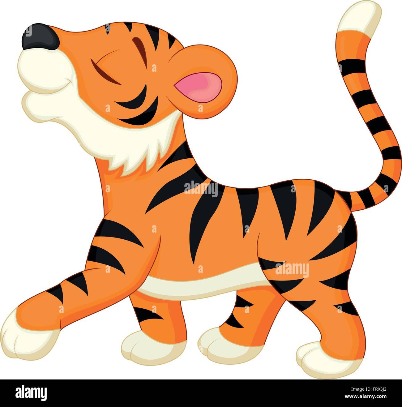Cute Dibujos Animados De Tigre Ilustración Del Vector