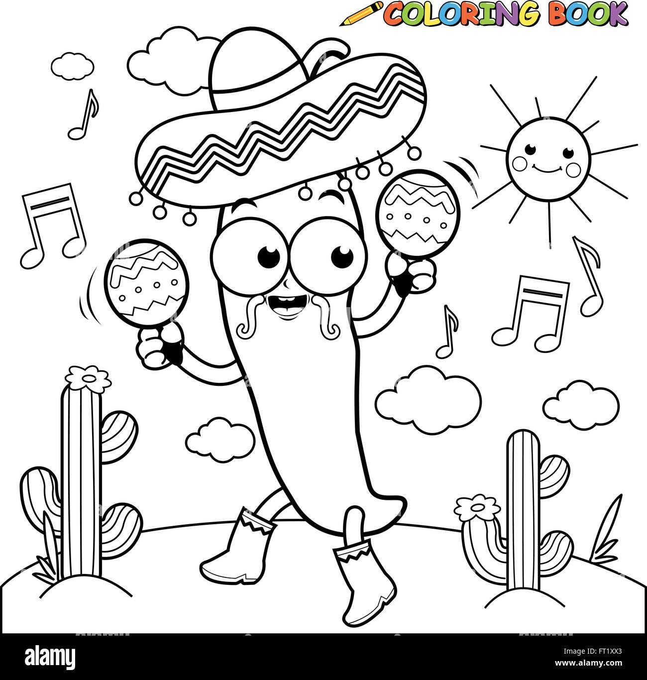 Mariachi Ají Con Maracas Página Para Colorear Ilustración Del Vector