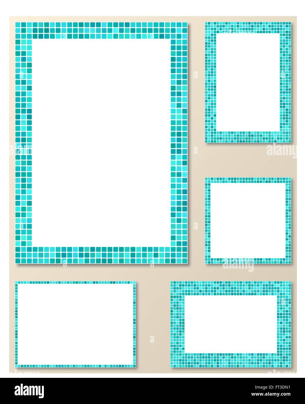 Página de mosaico azul claro borde de diseño conjunto de plantillas ...