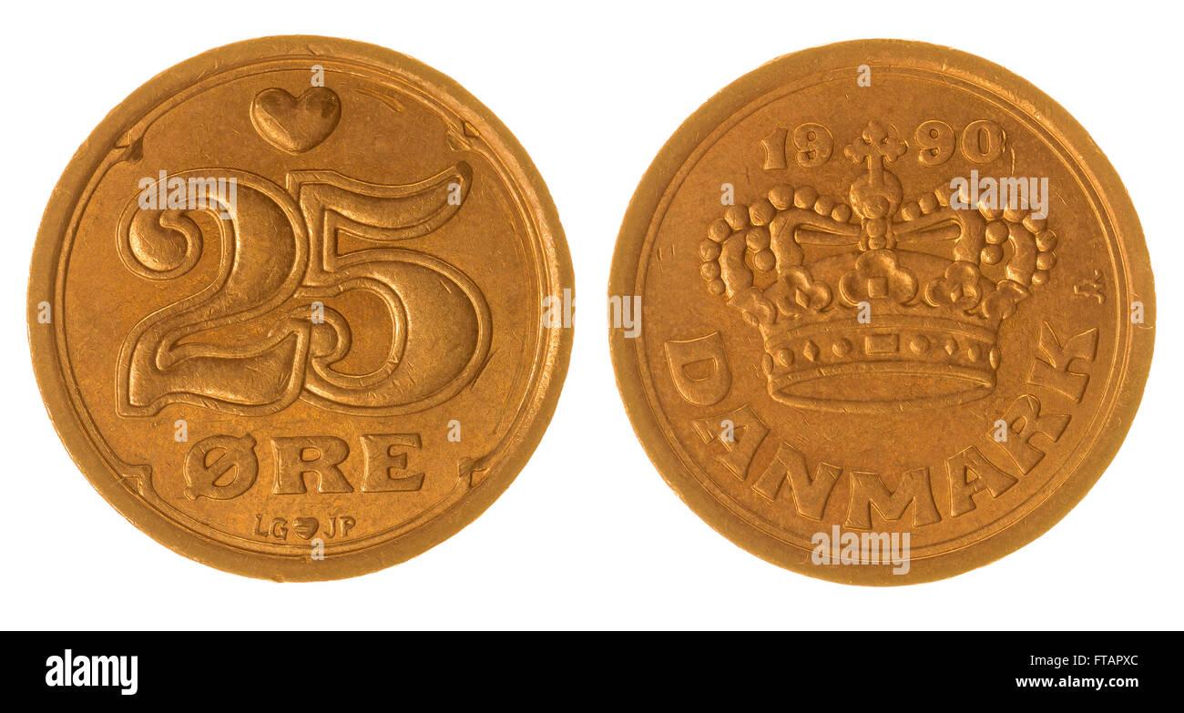 25 moneda de bronce 1990 mineral aislado sobre fondo blanco, Dinamarca Foto de stock