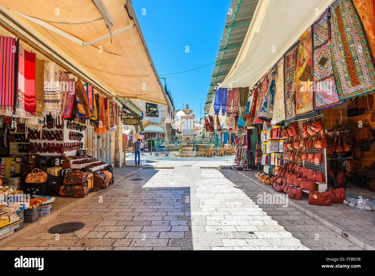 Bazar en la Ciudad Vieja de Jerusalén, Israel. Imagen De Stock