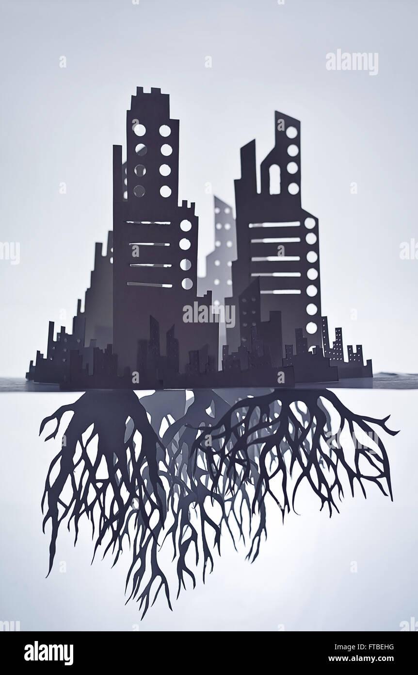Las raíces de las ciudades © Tom Waits Imagen De Stock