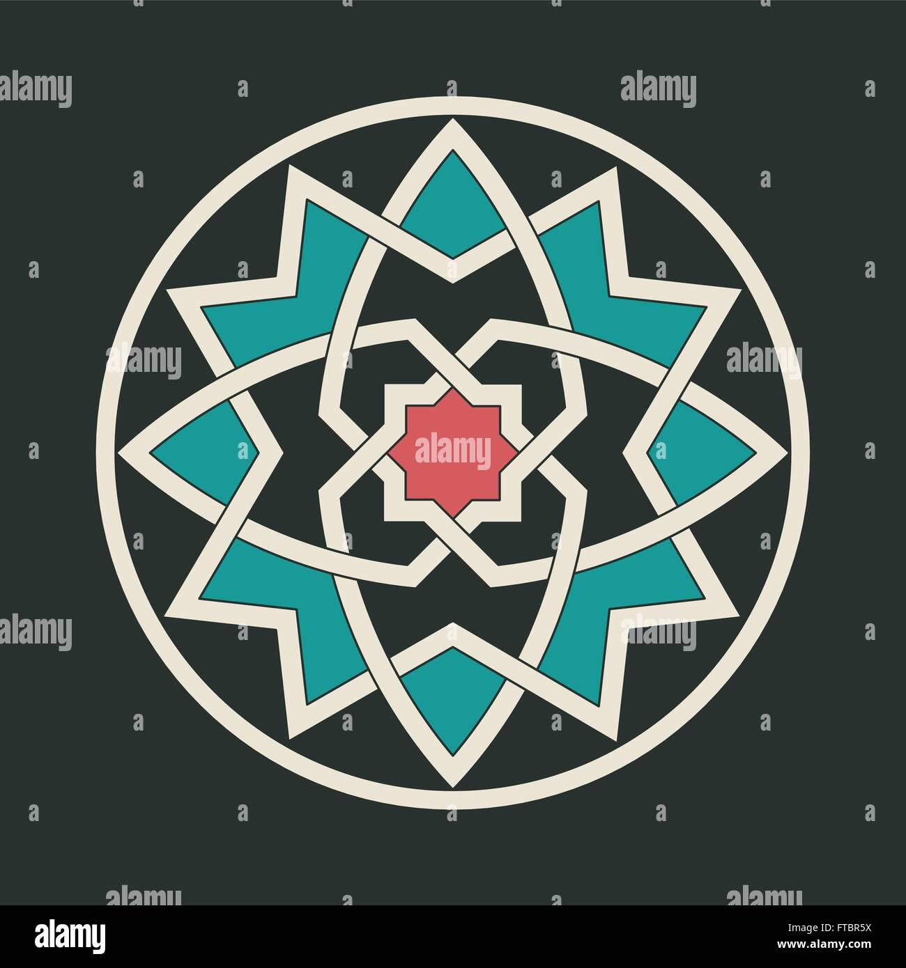 Ornamento abstracto gótico motif entrelazados en colores. Imagen De Stock