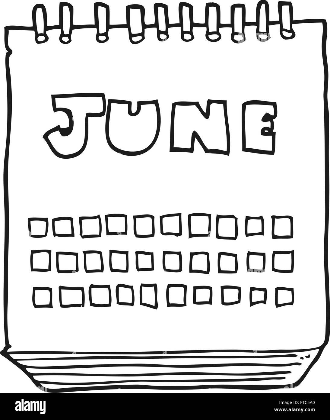 Calendario Dibujo Blanco Y Negro.Freehand Drawn Cartoon Calendar Showing Imagenes De Stock