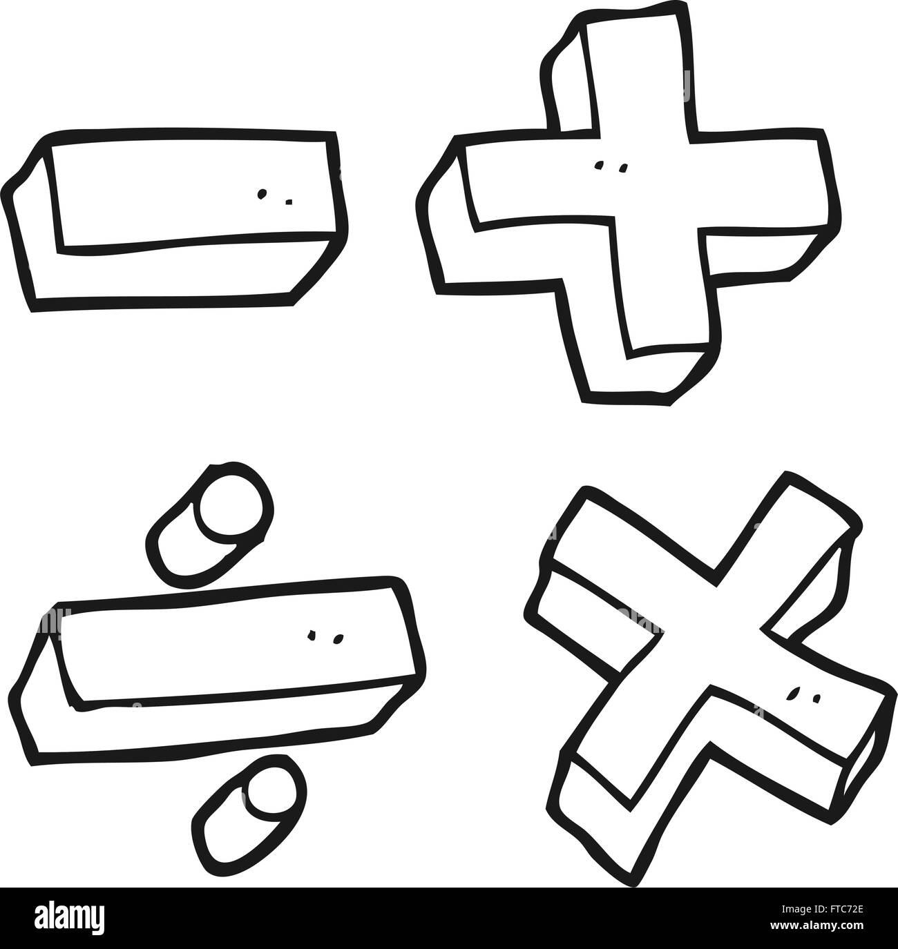 Blanco Y Negro Dibujado A Mano Alzada Cartoon Simbolos Matematicos