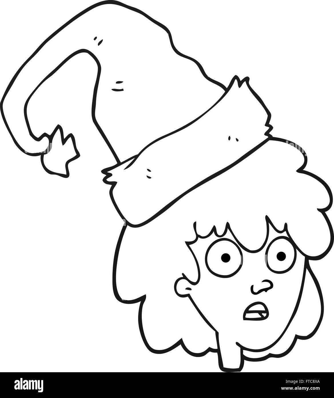 Dibujado a mano alzada caricatura en blanco y negro mujer wearning ...