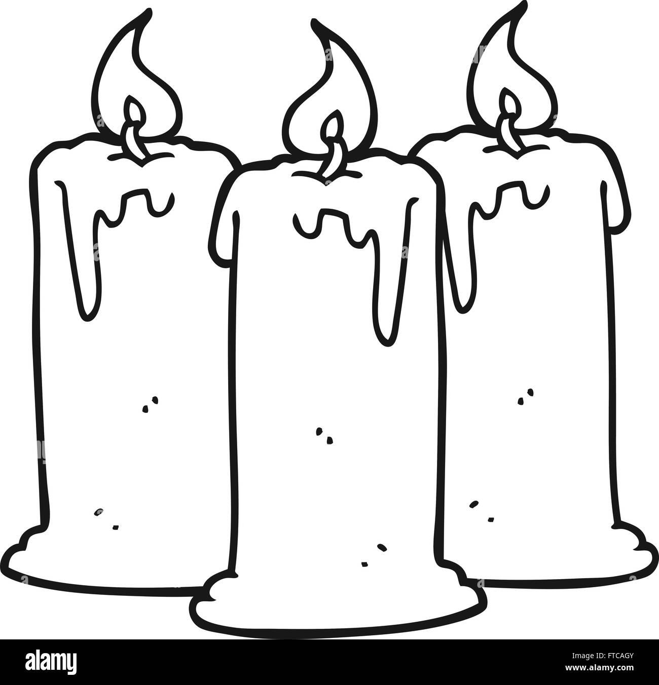 Blanco Y Negro Dibujado A Mano Alzada Cartoon Quemando Velas