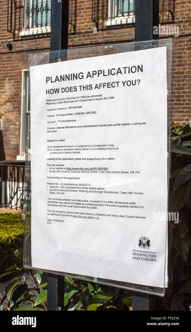 Aplicación de planificación previo aviso, Kensington y Chelsea, Londres Imagen De Stock