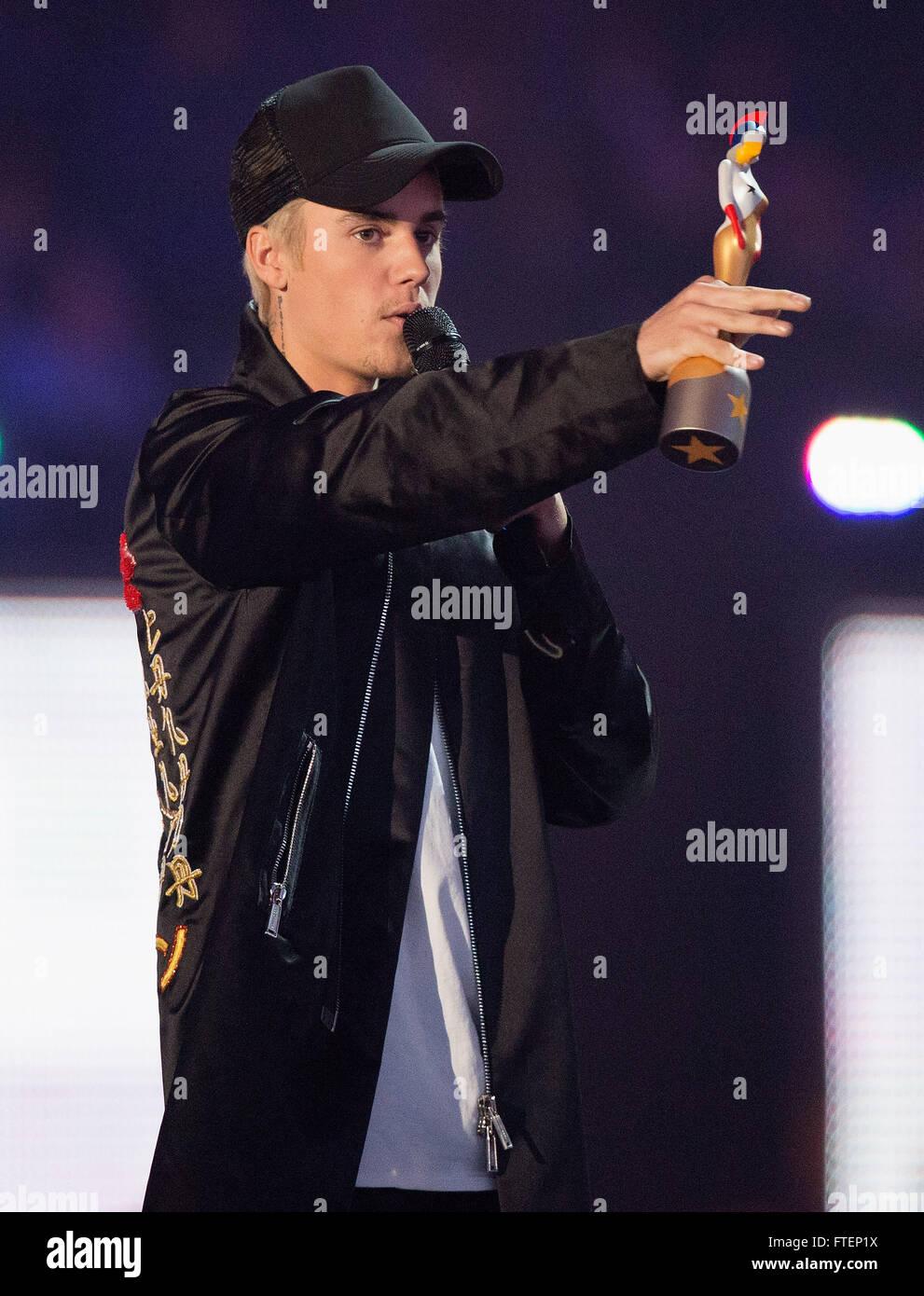 Brit Awards Show en el 02 Arena de Londres. Featuring: Justin Bieber donde: Londres, Reino Unido cuando: 24 Feb Imagen De Stock