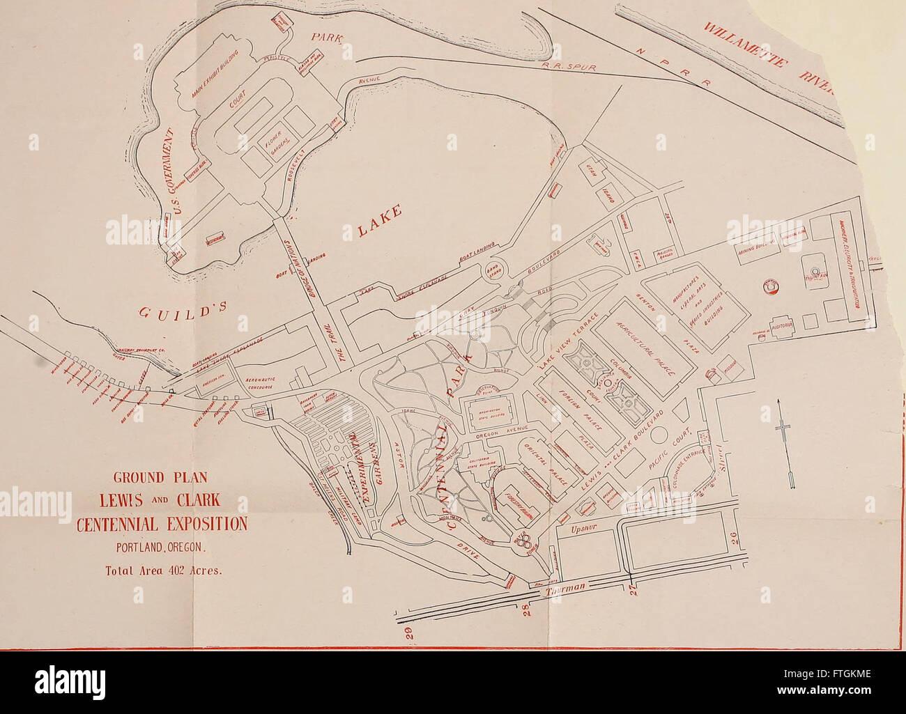 Guía oficial de la exposición del centenario de Lewis y de Clark, Portland, Oregón, 1 de Junio a Octubre 15, 1905 (1905). Foto de stock