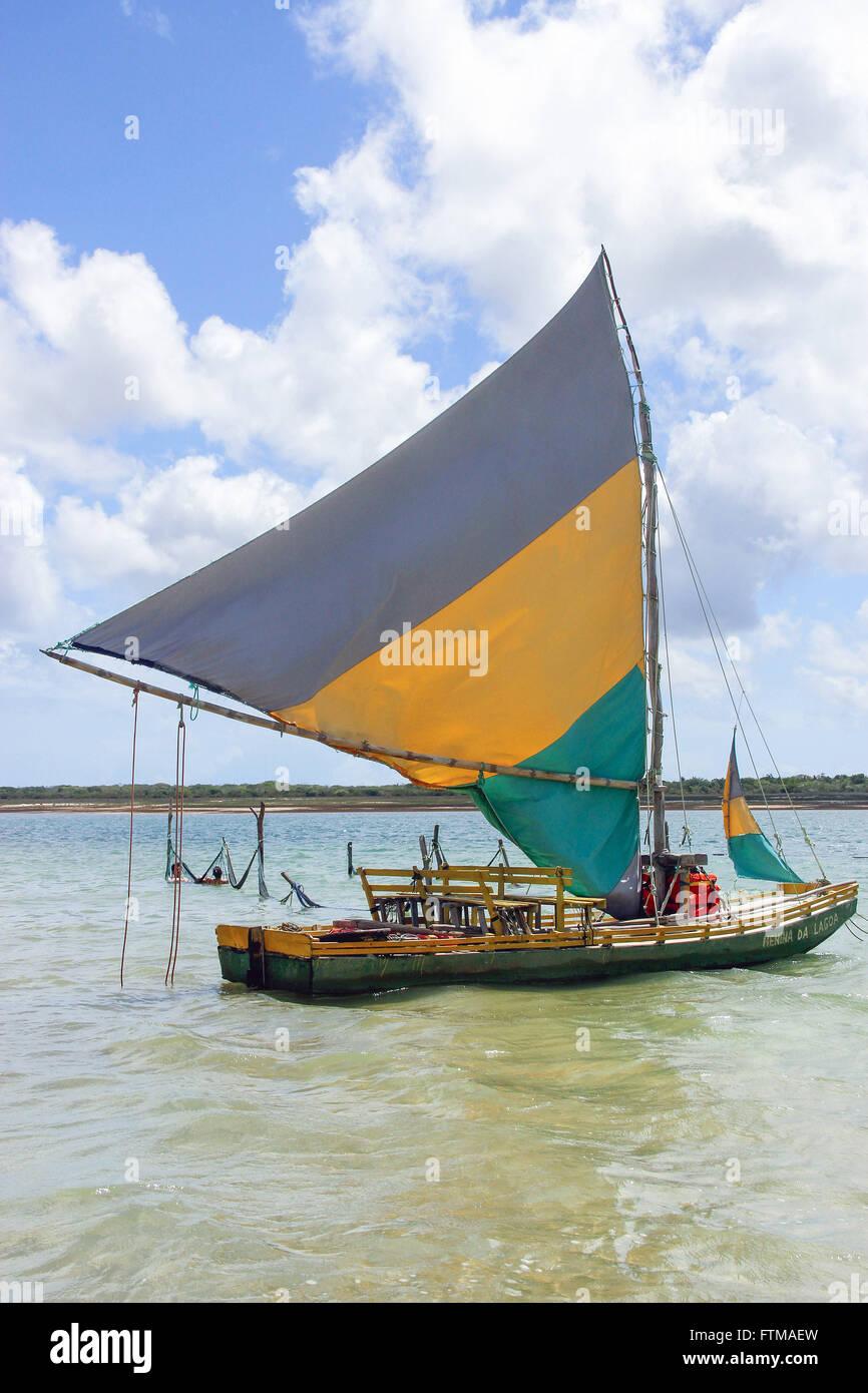 Jangada na Lagoa do Paraiso ningún Parque Nacional de Jericoacoara. Imagen De Stock