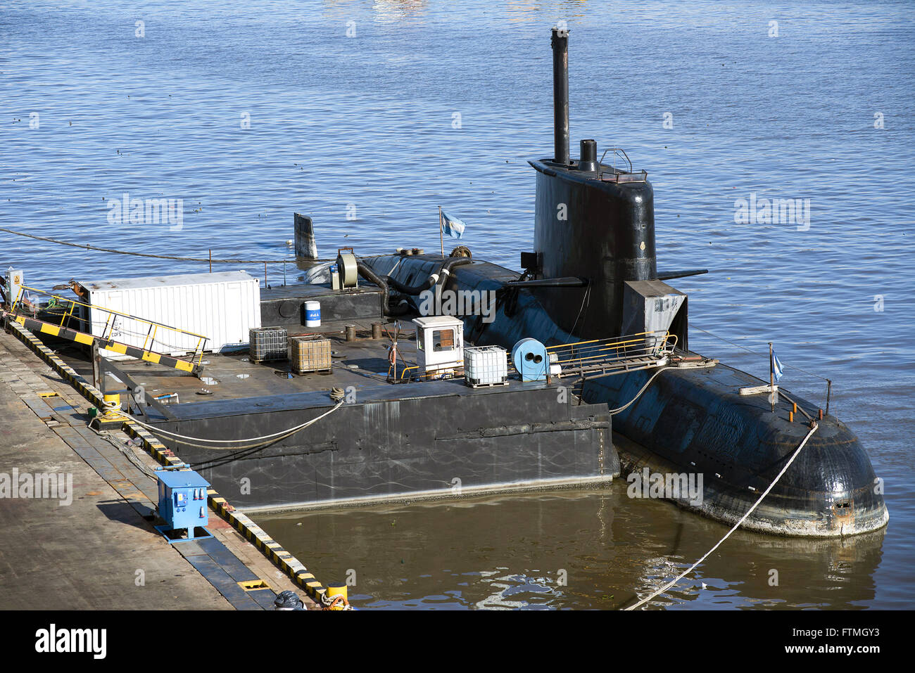 Submarino argentino atracado en el astillero de reparaciones Tandanor Imagen De Stock