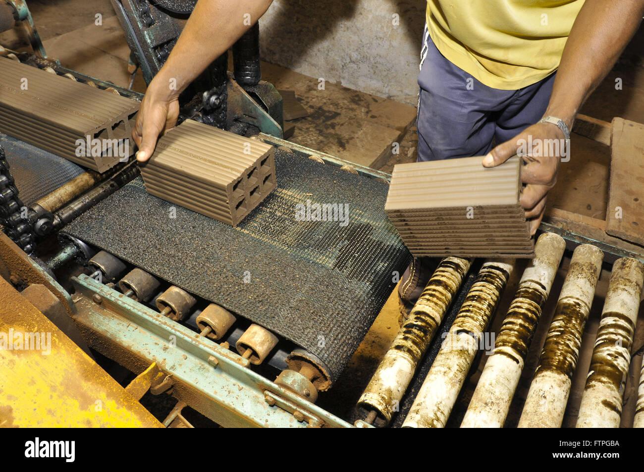 Fabricación de ladrillos de cerámica - la región áspera Imagen De Stock