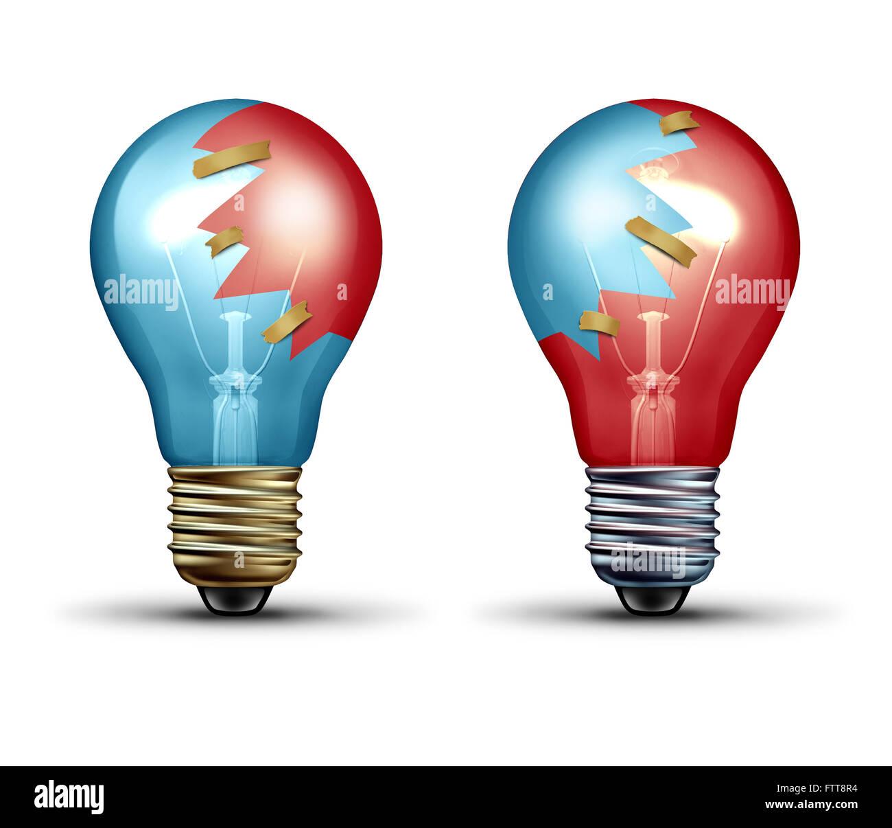 Idea concepto comercial como dos bombillas o bombilla iconos compartidos con pedazos de vidrio como un símbolo Imagen De Stock