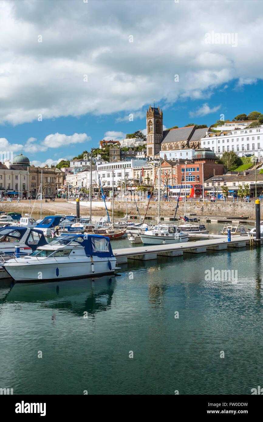 Vistas al Puerto y a la Marina de Torquay, Torbay, Inglaterra, Reino Unido | Aussicht ueber den Hafen und Marina Imagen De Stock