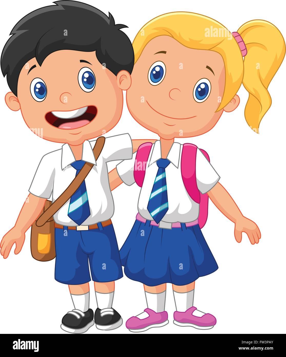 Los Niños De La Escuela De Dibujos Animados Ilustración Del Vector