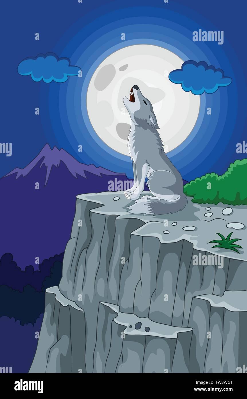 Lobo Aullando Bajo La Luna Llena Ilustración Vectorial Ilustración