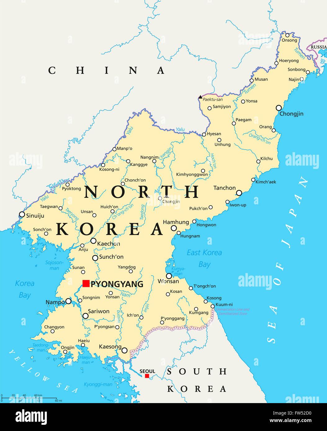 Mapa Politico De Corea Del Norte Con La Capital Pyongyang Las