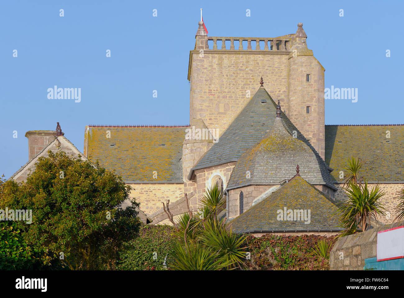 Iglesia de Barfleur en Francia Foto de stock