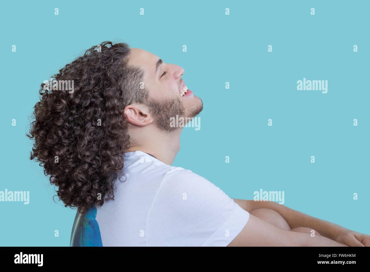 Niño sonriendo, sonrisa, azul, Guy, hombre sonriendo, la felicidad, la alegría, el placer, el amor, la Imagen De Stock