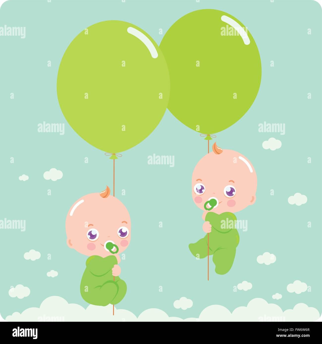 Bebé gemelos volando en el cielo la celebración de globos ... 0d11ea4cfaf