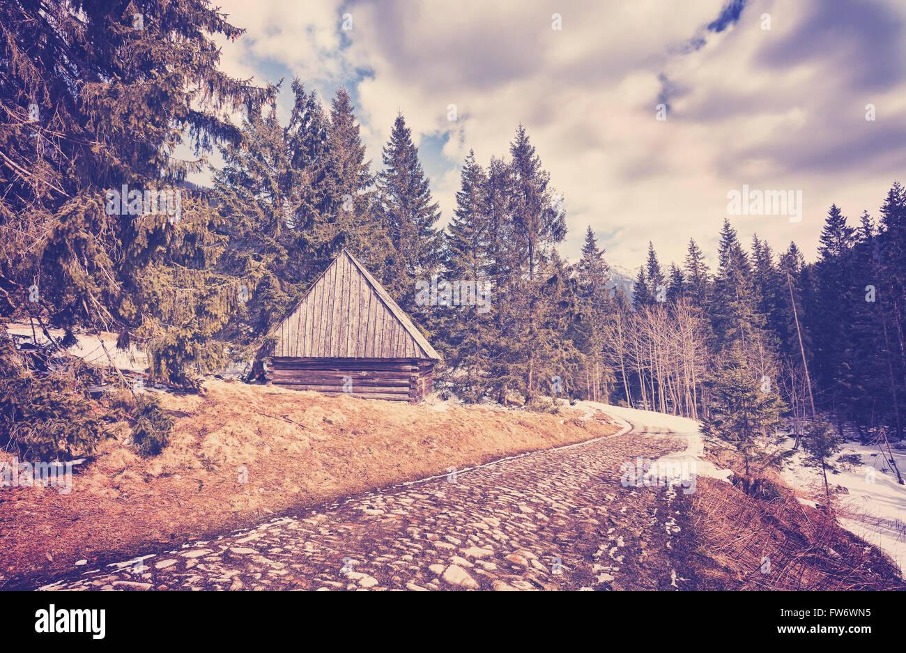 Cabaña de madera en tonos Vintage por carretera adoquinada en las Montañas Tatra, final del invierno y Imagen De Stock