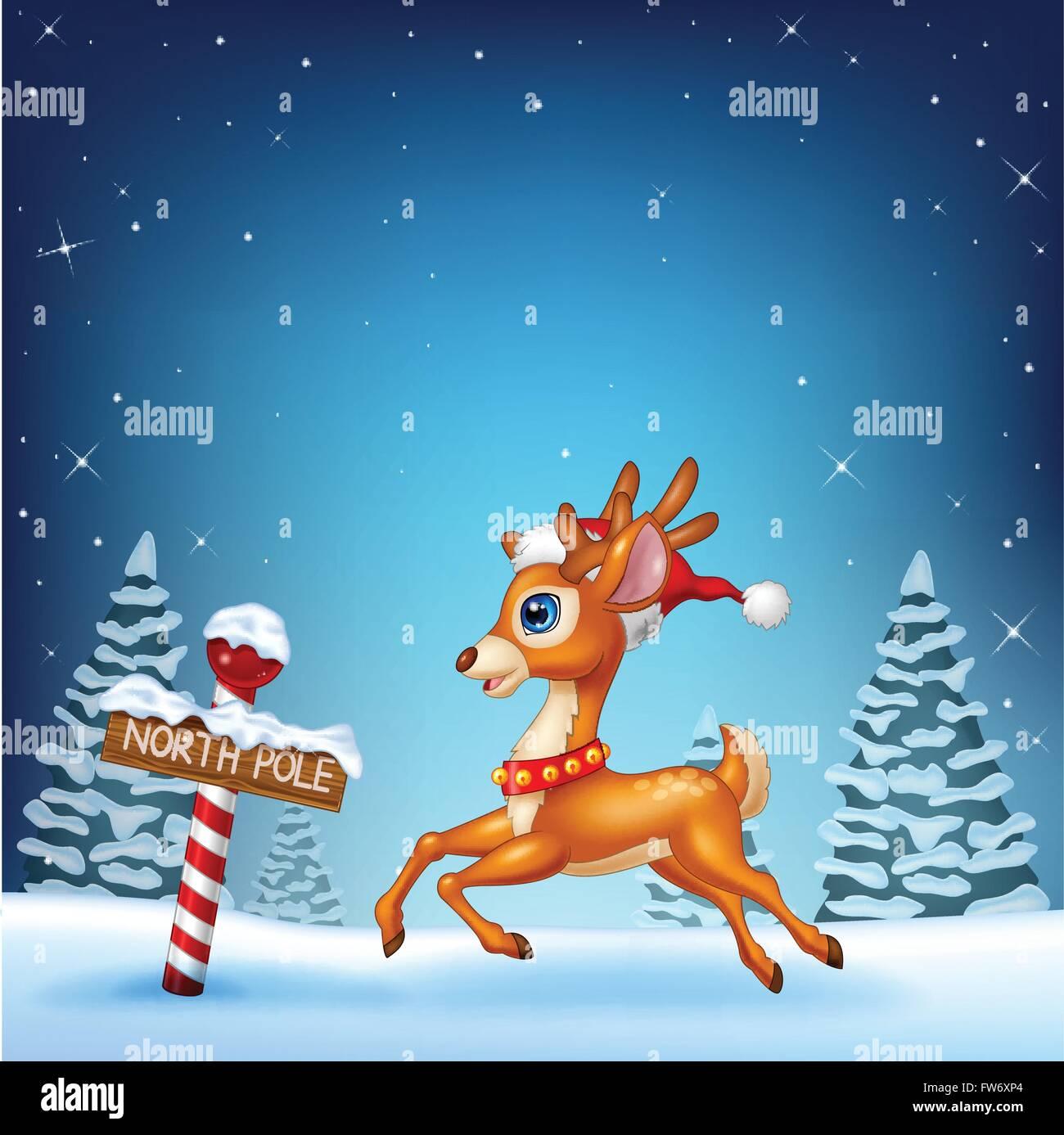 Lindo bebé ciervos corriendo con un polo norte cartel de madera Imagen De  Stock 8eddafc260e
